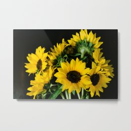 Yellow Sunflowers on Black Metal Print