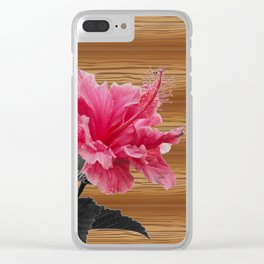 hibiscus on the wood Clear iPhone Case
