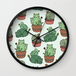 Cacti Cat pattern Wall Clock