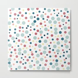 Polka Dots Pattern inTeal, Pale Blue and Red Metal Print