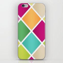 Modern Diamond Geometric Pattern Design // Pink Orange Green Blue iPhone Skin