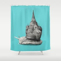 poland Shower Curtains featuring The Snail's Dream (monochrome option) by Eric Fan