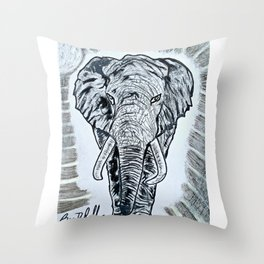 'TEMBO' Original Elephant Art Drawing Throw Pillow