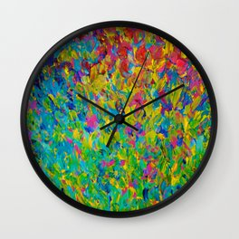 RAINBOW FIELDS - Colorful Abstract Acrylic Painting Ocean Waves Blue Teal Magenta Nature Fine Art Wall Clock