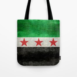 Independence flag of Syria, vintage retro style Tote Bag