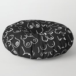 Boobs Pattern - Black and white, feminine art, lady boobs, Floor Pillow