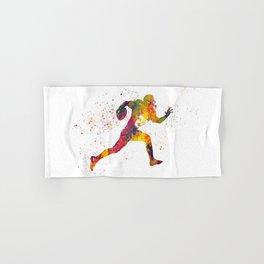 American football player in watercolor 14 Hand & Bath Towel