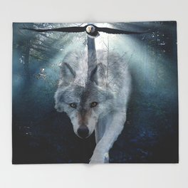 The Gathering - Wolf and Eagle Throw Blanket