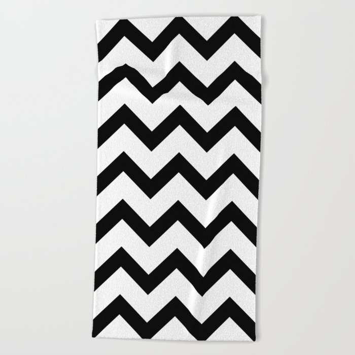 Simple Black and white Chevron pattern Beach Towel