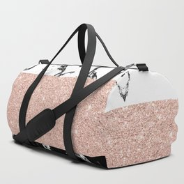 Modern black white marble rose gold color block stripes pattern Duffle Bag