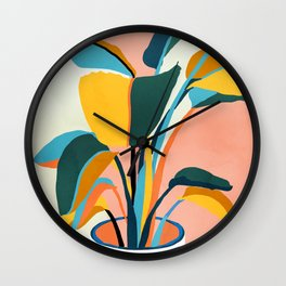 Nature Doesn't Hurry Yet All Is Accomplished, Colorful Botanical Plant Pot Illustration Tropical Wall Clock
