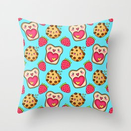 Cute funny sweet adorable happy Kawaii toast with raspberry jam and butter, chocolate chip cookies, red ripe summer strawberries cartoon fantasy pastel blue pattern design Throw Pillow