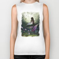 mythology Biker Tanks featuring Little mermaid by milyKnight