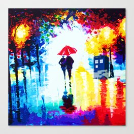 Tardis Watching Romantic Night Canvas Print