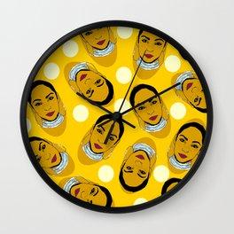 Yellow Ms. Adu Pattern Lover's Rock Wall Clock