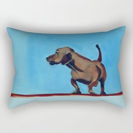 Doxie Dog in Red White and Blue Rectangular Pillow