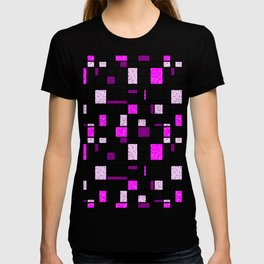 Modern Art Pink and Purple Speckled Grid Pattern T-shirt