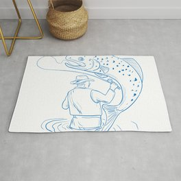 Fly Fisherman Trout Fishing Drawing Rug