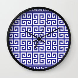 Greek Key (Navy Blue & White Pattern) Wall Clock