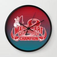 mario kart Wall Clocks featuring Mario Kart 8 Champion by Kody Christian