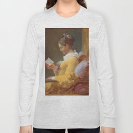 Young Girl Reading Painting by Jean-Honoré Fragonard Long Sleeve T-shirt