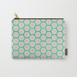 Geometric Bright Teal Taupe Pattern Design Carry-All Pouch