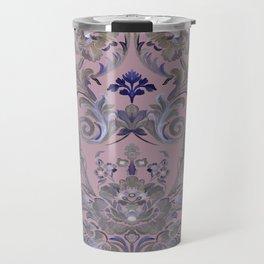 Painted Tibetan Brocade Mauve Travel Mug