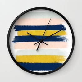 Stripes minimal trendy color palette gold silver metallic minimal home decor Wall Clock