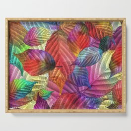 Coloured Leaf Collage Serving Tray