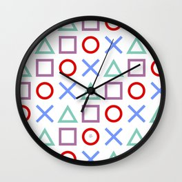 Gamer Pattern Color on White Wall Clock