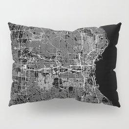 Milwaukee Black Map Pillow Sham