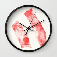 eric fan Wall Clocks featuring Red - by Eric Fan and Garima Dhawan  by Eric Fan