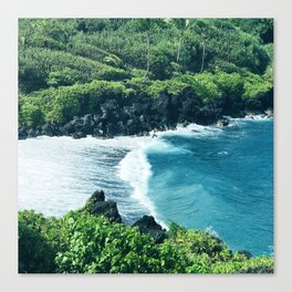 Tropical Ocean Cove With Rogue Wave and Wild Surf Canvas Print