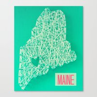 maine Canvas Prints featuring MAINE by Luck Be The Lulu