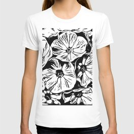 Inky Black and White Floral 3 T-shirt