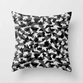 Camouflage Digital Black and White Throw Pillow