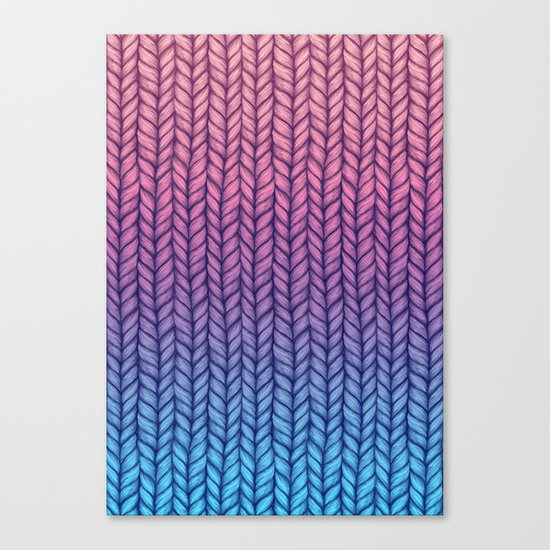 Chunky Knit Pattern in Pink, Blue & Purple Canvas Print