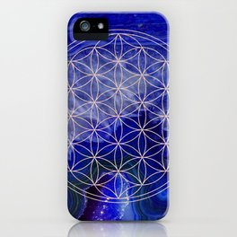 indigo agate with rose gold flower of life iPhone Case