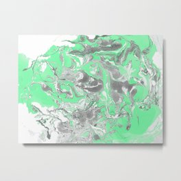 Light green and gray Marble texture acrylic paint art Metal Print