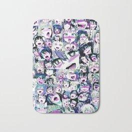Ahegao Hentai Girls Anime Manga Collage Multicolor Bath Mat