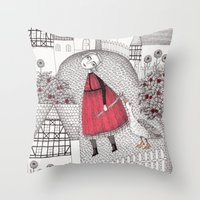 justin timberlake Throw Pillows featuring The Old Village by Judith Clay