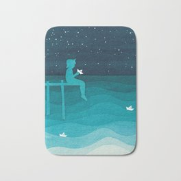 Boy with paper boats, watercolor teal art Bath Mat