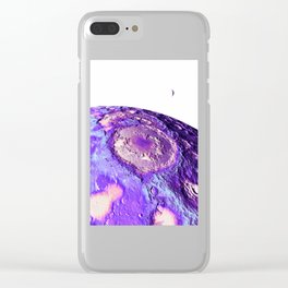 Moon Surface Lavender Clear iPhone Case