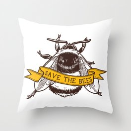 Save The Bees! (Bumblebee) Throw Pillow