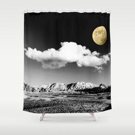 Black Desert Sky & Golden Moon // Red Rock Canyon Las Vegas Mojave Lune Celestial Mountain Range Shower Curtain