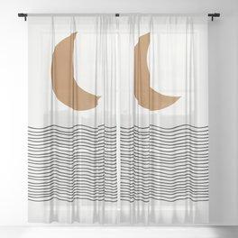 Moon by the ocean Sheer Curtain