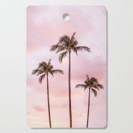 Palm Tree Photography | Landscape | Sunset Unicorn Clouds | Blush Millennial Pink Cutting Board