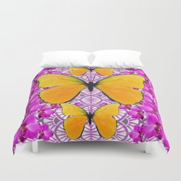 FUCHSIA COLORED  ORCHIDS &  YELLOW  BUTTERFLY FLORAL Duvet Cover