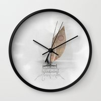 wanderlust Wall Clocks featuring Wanderlust by Aimee Stewart