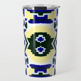 Geometric Aztec - Cobalt and Cornflower Travel Mug
